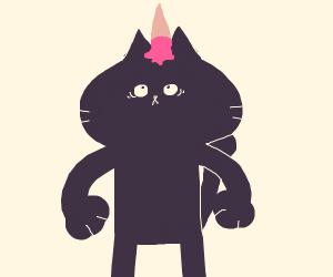 an animal with an ice cream cone on its head