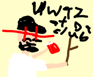 Edge boi looks at stick