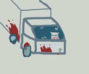 Potato sack drive a bloody truck
