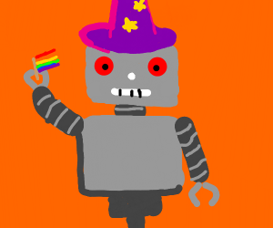 gay pride robot with a wizard hat