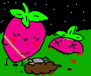 Strawberry that has a passion for digging