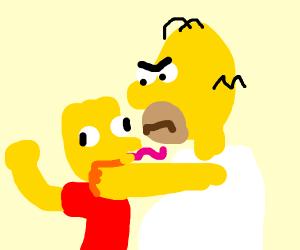 """Now you little..!"" Homer strangling Bart"