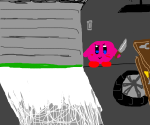 Kirby waits in a parking garage to stab you