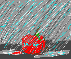 An apple cryingin the rain, no face