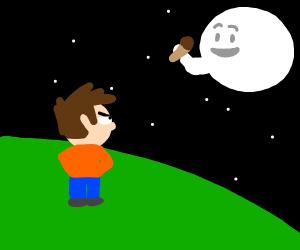 Man on Earth jealous of Moon's ice cream