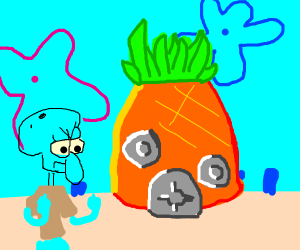 Squidward beside spongebobs house