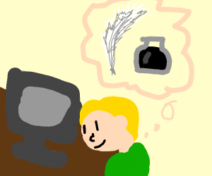 man thinking about quill&ink while on compute