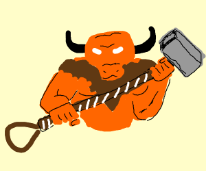 minotaur with Thors' hammer