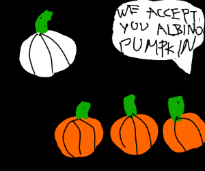 Albino pumpkin is accepted into his family