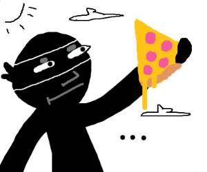 High ninja uses pizza to solve da munchies