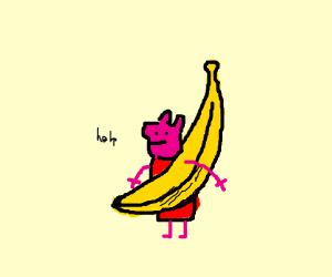 peppa got stuffed inside a banana
