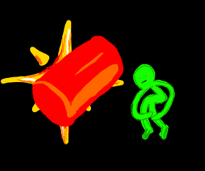 star behind a red cylinder and green man
