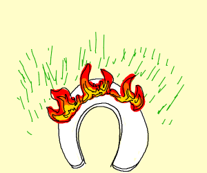 toilet seat on the lawn catches fire