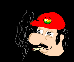 Mario does weed on a black background