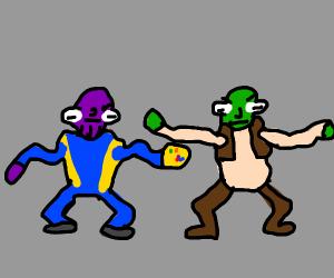 Shrek and Thanos do interpretive dancing