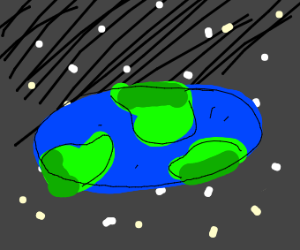 The earth has been squashed and is now an ova