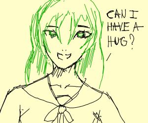 Anime school (green hair)girl asks for a hug