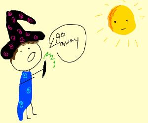 wizard banishing the sun