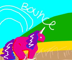 Unicorn bouncing through a field