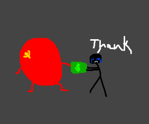 the soviet union giving money to a crying kid