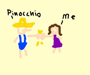 Pinocchio gives you a fistbump