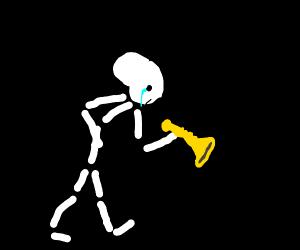 Mr skeletal is very sad because no doot