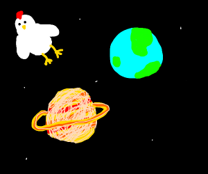 A chicken in space w/ earth & saturn