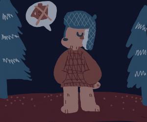 no gasoline for a bear dressed as a hunter.