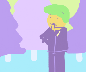 Tuxedo man thinks in an icy forest.