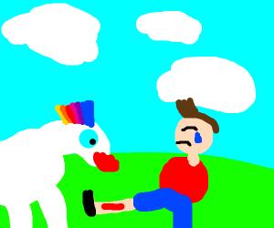 Unicorn kisses injury