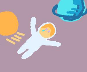 Girl crying in zero gravity