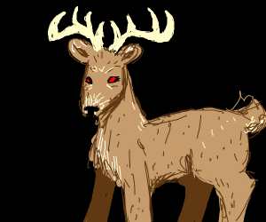 Male deer with red eyes