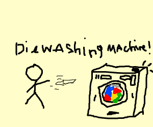 man throwing a knife at a washing machine