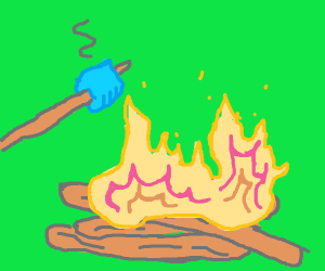 Blue marshmallows in a campfire