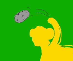 simba throwing a rock