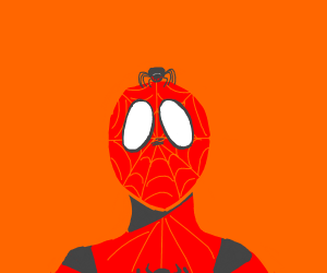 Spiderman with a spider on his head