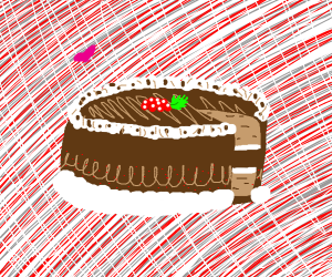 Cake with slice detached