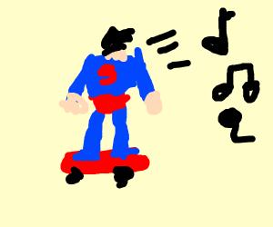 Skating Elvis Presley as Superman
