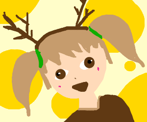 Happy gorl with antlers hat thing