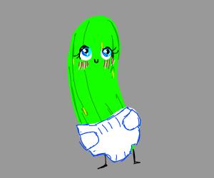 kawaii pickle in a diaper
