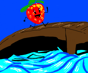 strawberry walking on a bridge over a river