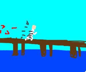 Convict makes his escape by crossing a bridge