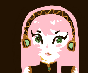 Cute girl with pink hair w/ green eyes