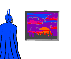 Blue batman looking at sunset