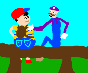 Waluigi sits on a bench with Ness