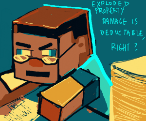 Minecraft steven doing his taxes