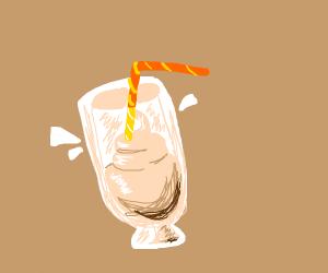 half-drank milkshake