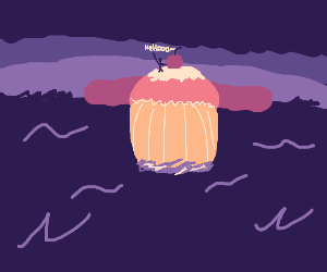 Tiny man waves from cupcake island