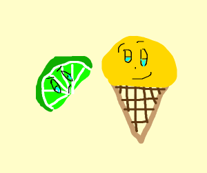 lime is mad at ice cream cone