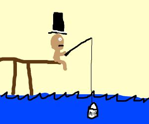 Guy fishing for milk